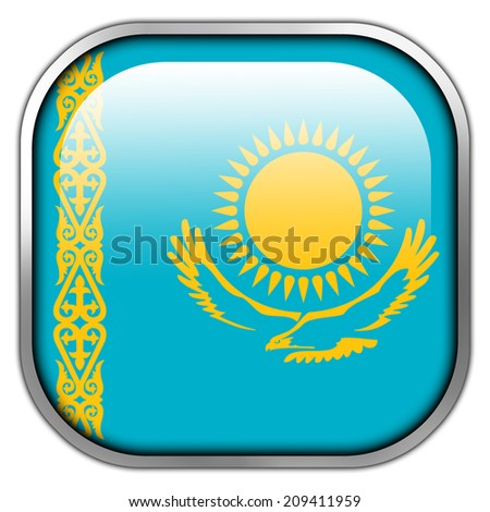 Kazakhstan Flag square glossy button - stock photo