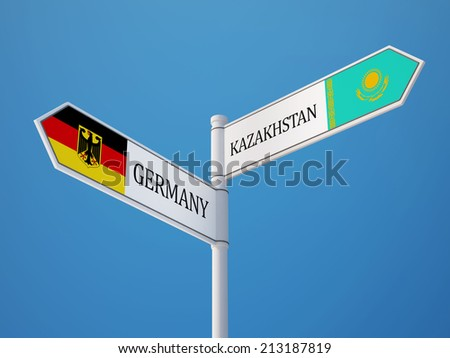 Kazakhstan Germany High Resolution Sign Flags Concept