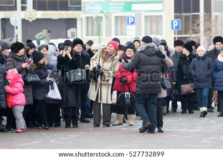 KAZAKHSTAN, PETROPAVLOVSK - December 1, 2016: Feast day of the first president of the Republic of Kazakhstan. People, children, dance, sing.