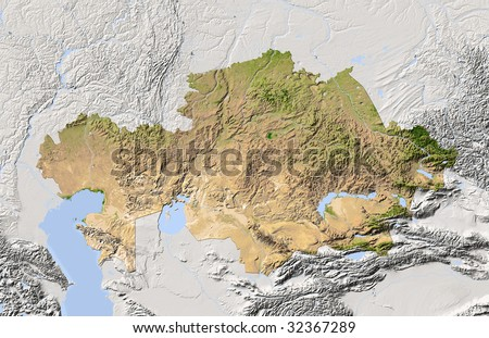 Kazakhstan shaded relief map colored according stock illustration kazakhstan shaded relief map colored according to vegetation includes clip path for the publicscrutiny Image collections