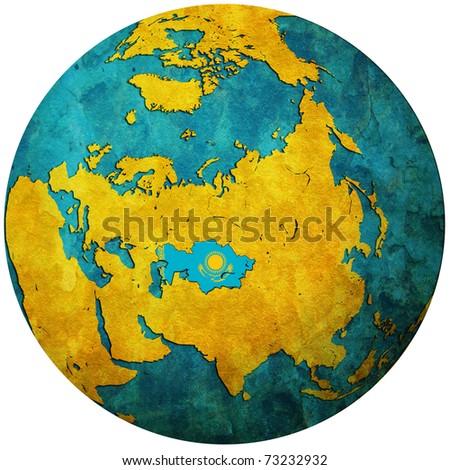 Kazakhstan Territory Flag On Map Globe Stock Illustration - Map of globe
