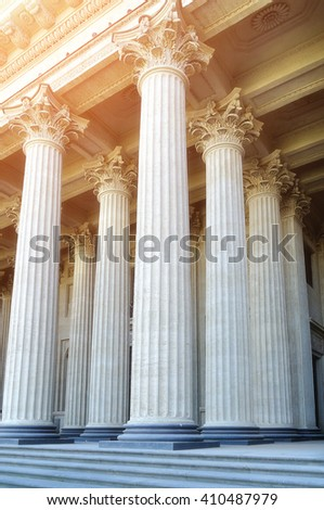 Kazan Cathedral colonnade in Saint-Petersburg, Russia. Closeup view under soft sunshine. Soft filter applied.  - stock photo