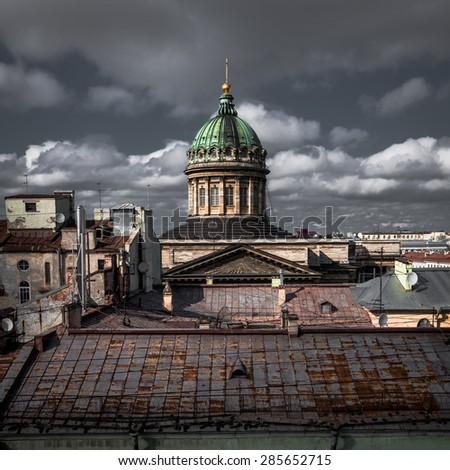 Kazan cathedral dome in Russia at time of really angry weather