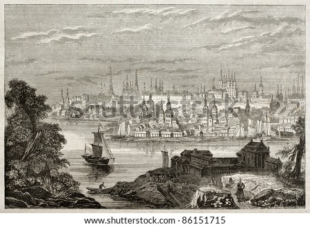 Kazan old view, Russia. By unidentified author, published on Magasin Pittoresque, Paris, 1843