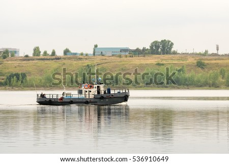 KAZAN, RUSSIA, JULY 24, 2016: Boat on the river