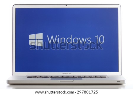 KAZAN, RUSSIA, July 4, 2015: Notebook computer with Windows 10 logo. Windows 10 is the new version of Windows OS by Microsoft Corporation. It starting July 29, 2015. It working well even on mac. - stock photo