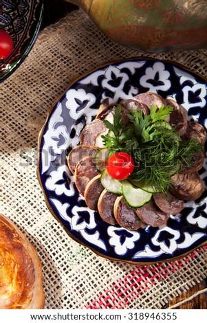 Kazy - Traditional Sausage-like food made from Horseflesh - stock photo