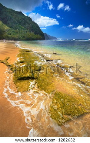 Ke'e beach is one of the most popular and most beautiful Kauai beaches. More with keyword Series001. - stock photo
