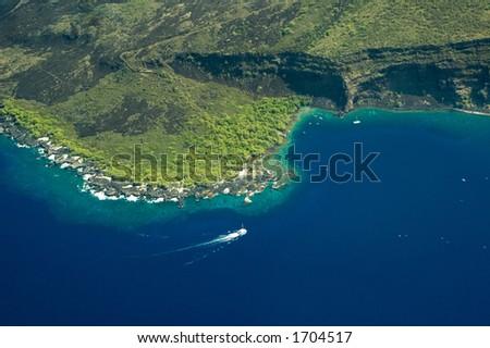 Kealakekua Bay, Big Island aerial shot, Hawaii - stock photo
