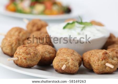 Kebab and tzatziki. Shallow DOF - stock photo