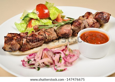 Kebab on a pita salad decorated - stock photo