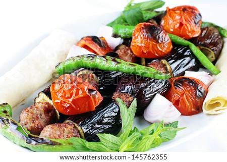 kebab on skewers  - stock photo