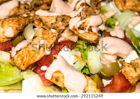 Kebab salad with grilled beef and vegetables topped with sauce, macro close-up, food background - stock photo