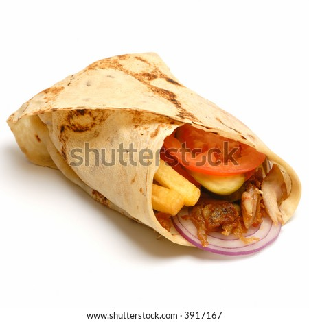 Kebab - traditional turkish food isolated on white