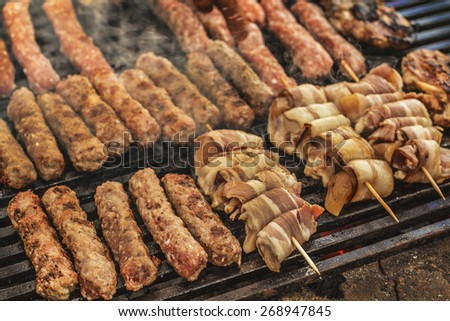 kebabs on the grill - stock photo