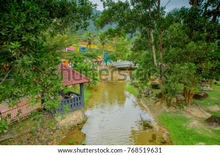 Kedah, Malaysia - December 1, 2017: Oriental Village Langkawi is a famous tourism spot in Malaysia visited by a visitor all over the world. It was like a small town with beautiful scenery of mountain