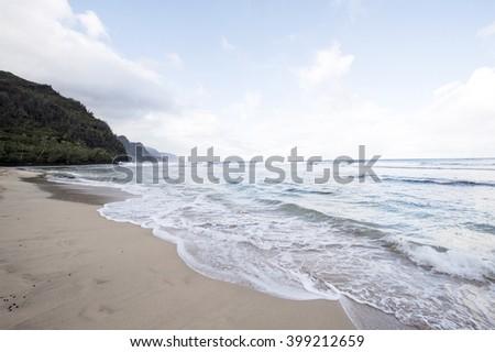 Kee Beach, Kauai, Hawaii - stock photo
