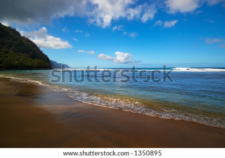 Kee beach, Kauai, Hawaii on Kauai Hawaii. More with keyword Series001. - stock photo