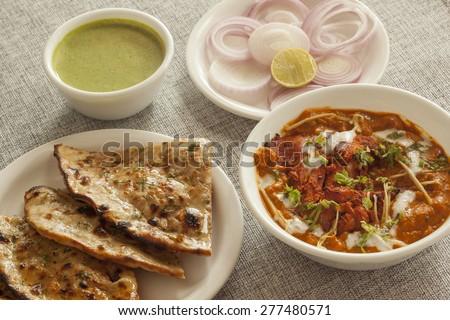 Keema roti with chicken adarki - stock photo