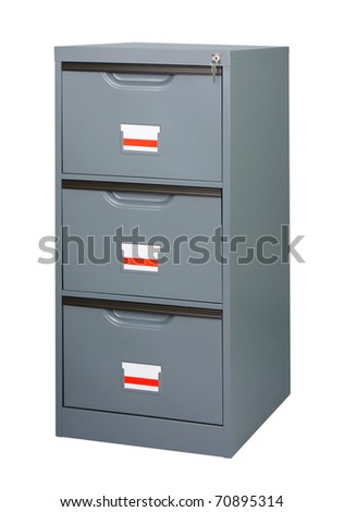 Keep all documents here in the metal cabinet - stock photo