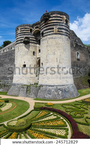 Keep at the Chateau d'Angers or the famous historic castle of Angers, once capital of Anjou, in Marne-et-Loire, France. - stock photo