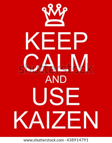 Keep Calm and use Kaizen red sign with a crown making a great concept