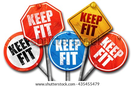 keep fit, 3D rendering, street signs - stock photo