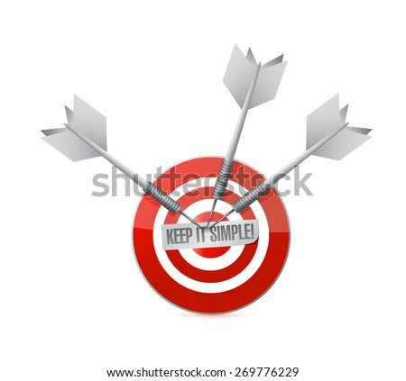 keep it simple target sign illustration design over white - stock photo