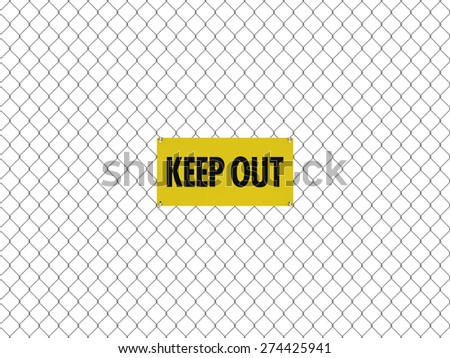KEEP OUT Sign Seamless Tileable Steel Chain Link Fence - stock photo