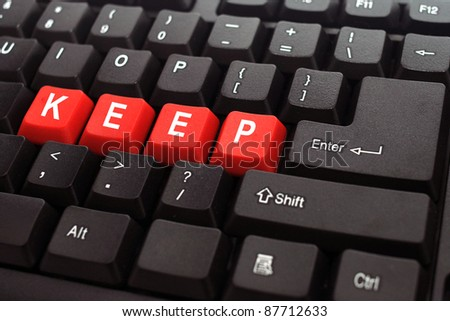 keep red button word on black keyboard