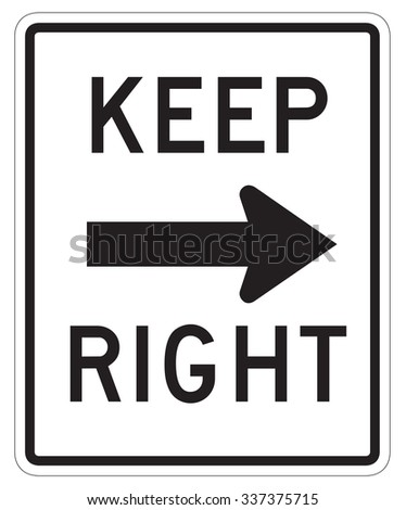 Keep Right Sign isolated on a white background - stock photo