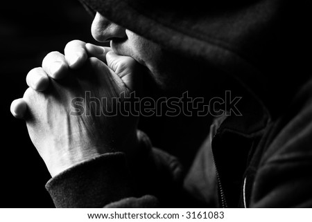 keep silence (special photo toned f/x, focus point on the hands and nose) - stock photo