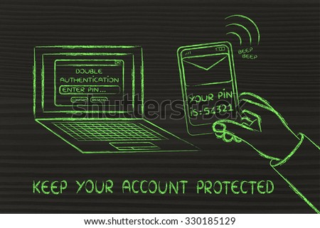 keep your account protected: computer with login and phone text with pin