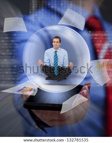 Keep your balance in the digital information overload - businessman keeping cool with yoga - stock photo