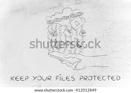 keep your files protected: locked up cloud with different types of documents and binary code rain above smartphone - stock photo
