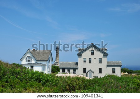 Keeper's housing on Thacher Island in Rockport, Massachusetts, with the North tower in the background