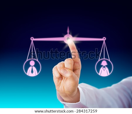 Keeping a female and a male office worker in balance by touch of a finger tip. Both the male and female symbol are suspended by a balanced scale in cyberspace. Business metaphor with gender theme. - stock photo