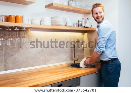 Washing stand stock images royalty free images vectors shutterstock - Lavish white and grey kitchen for hygienic and bright view ...
