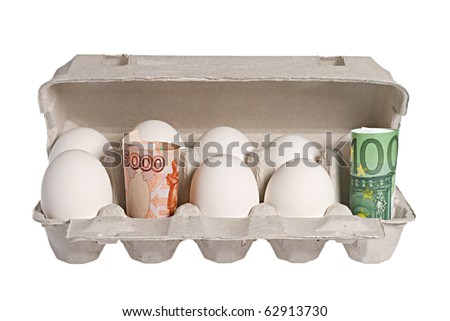 Keeping money and eggs in a carton - stock photo
