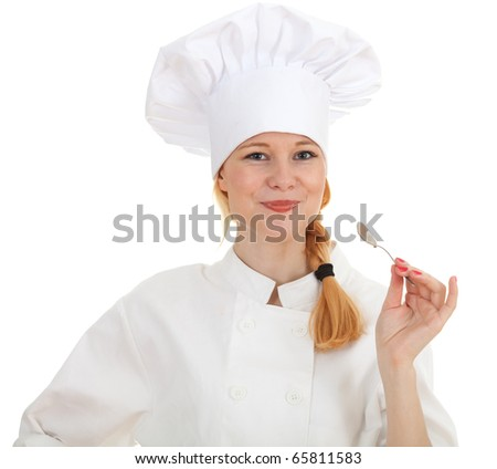 keeping spoon female cook in white uniform and hat - stock photo