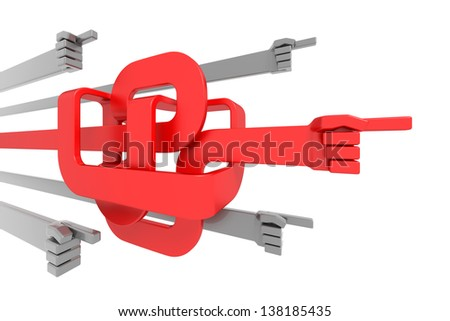 Keeping the Right Direction. Directional signs in forms of a hands, pointing to the same way, one of them was moving in a disorderly direction; isolated on white background. 3D rendered image - stock photo