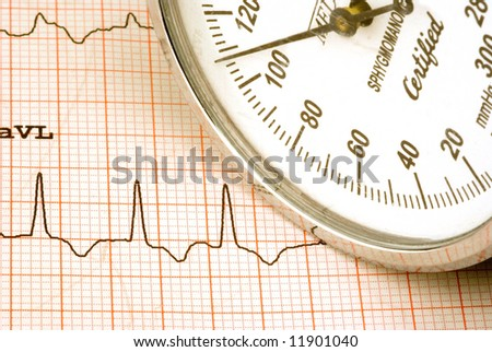 Keeping track of your health with a EKG and blood pressure - stock photo