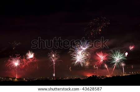 Keflavik fireworks - stock photo