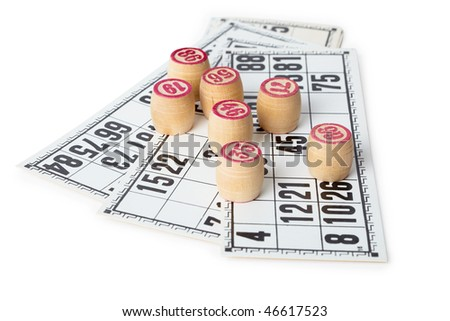Kegs for bingo on cards, isolated on white background - stock photo