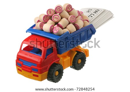 Kegs of a lotto in the truck are isolated on a white background - stock photo