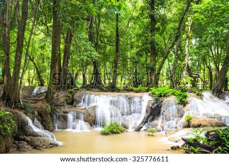 Keingkravia waterfall at sangkhlaburi, Kanjanaburi. Thailand - stock photo
