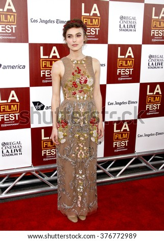 """Keira Knightley at the 2012 Los Angeles Film Festival premiere of """"Seeking A Friend For The End Of The World"""" held at the Regal Cinemas L.A. LIVE Stadium 14 in Los Angeles, USA on June 18, 2012.  - stock photo"""