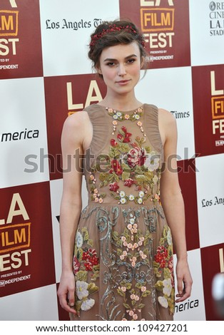 "Keira Knightley at the world premiere of her movie ""Seeking a Friend for the End of the World"" at Regal Cinemas LA Live. June 19, 2012  Los Angeles, CA Picture: Paul Smith / Featureflash - stock photo"