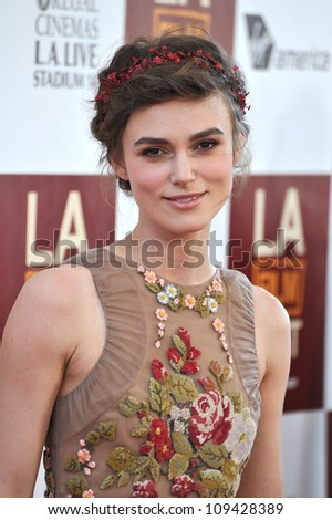 """Keira Knightley at the world premiere of her movie """"Seeking a Friend for the End of the World"""" at Regal Cinemas LA Live. June 19, 2012  Los Angeles, CA Picture: Paul Smith / Featureflash - stock photo"""