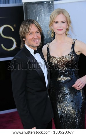 Keith Urban, Nicole Kidman at the 85th Annual Academy Awards Arrivals, Dolby Theater, Hollywood, CA 02-24-13 - stock photo